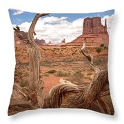 Gnarled Tree At Monument Valley  Throw Pillow