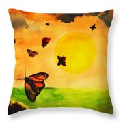 Gnome And Seven Butterflies Throw Pillow
