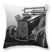 Go Hot Rod In Black And White Throw Pillow