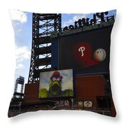 Go Phillies - Citizens Bank Park - Left Field Gate Throw Pillow