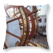 Steering Wheel Of Big Sailing Ship Throw Pillow