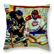 Goalie  And Hockey Art Throw Pillow by Carole Spandau