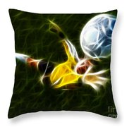Goalkeeper In Action Throw Pillow by Pamela Johnson