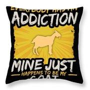 Goat Addiction Funny Farm Animal Lover Throw Pillow