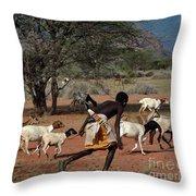 Goat Chase Throw Pillow