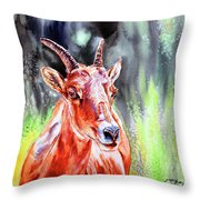 Goat From The Mountain Throw Pillow