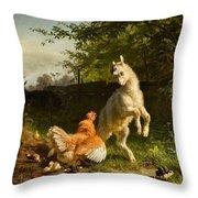 Goat Kid And A Hen Throw Pillow