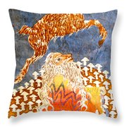 Goat Leaping Over Wood Elf Throw Pillow