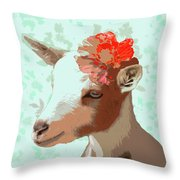 Goat With Flower Throw Pillow