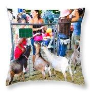 Goats At County Fair Throw Pillow