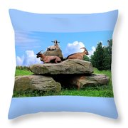 Goats On The Rock Throw Pillow