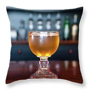 Goblet Of Refreshing Golden Beer On Shiny Dining Table Throw Pillow