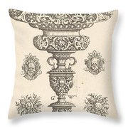 Goblet, Rim Decorated With Masque And Bouquet Of Fruit Throw Pillow