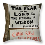 God And Saws Throw Pillow