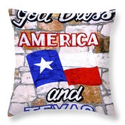 God Bless America And Texas 2 Throw Pillow