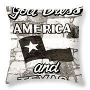 God Bless America And Texas Throw Pillow