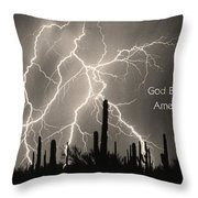 God Bless America Bw Lightning Storm In The Usa Desert Throw Pillow by James BO  Insogna