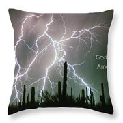God Bless America Color Lightning Storm In The Usa Desert Throw Pillow