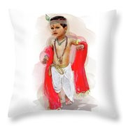 God Krishna Style Watercolor Throw Pillow