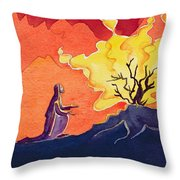 God Speaks To Moses From The Burning Bush Throw Pillow