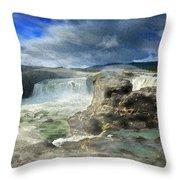 Godafoss Waterfall Iceland Throw Pillow