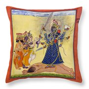 Goddess Bhadrakali Worshipped By The Gods. From A Tantric Devi Series Throw Pillow
