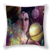 Goddess Of Planets Throw Pillow