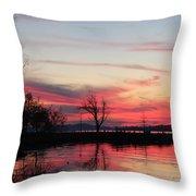 God's Hand On The Lake Throw Pillow