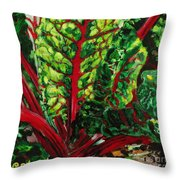 God's Kitchen Series No 7 Swiss Chard Throw Pillow