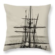 Godspeed At Port In Jamestown Throw Pillow
