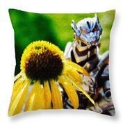 Godzilla With A Yellow Flower Throw Pillow