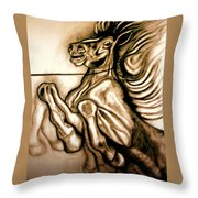 Going Down Fighting Throw Pillow