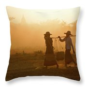 Going Home At Sunset Throw Pillow