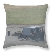 Going Out To The Barn Throw Pillow