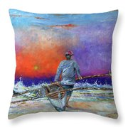 Going To Fish Throw Pillow