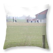 Going To The Barn Throw Pillow