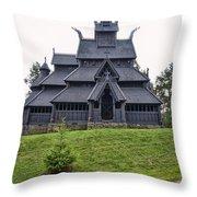 Gol Stave Church Throw Pillow