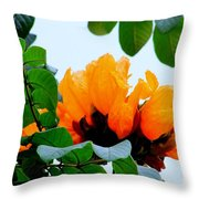 Gold African Tulips Throw Pillow