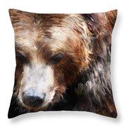 Bear // Gold Throw Pillow