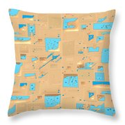 Gold And Aqua Mid-century Modern Throw Pillow