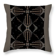 Gold And Black With Silver Design Abstract Throw Pillow