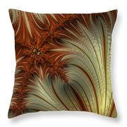 Gold And Burnt Orange Fractal Throw Pillow