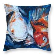 Gold And Koi Fish 1 Throw Pillow