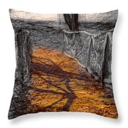 Gold And Orange Path Throw Pillow