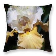 Gold And White Iris Throw Pillow