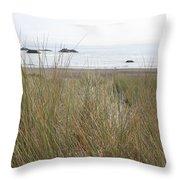 Gold Beach Oregon Beach Grass 7 Throw Pillow