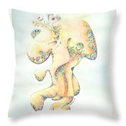 Gold Bejeweled Fertility Goddess Throw Pillow
