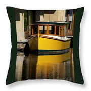Gold Boat Reflects Throw Pillow