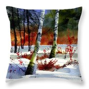 Gold Bushes Watercolor Throw Pillow