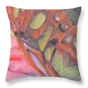 Gold Butterfly Paintng Abstract Throw Pillow
